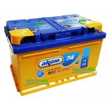 Аккумулятор АКОМ 74 А/ч 700A R+ LB3 (низкий формат)